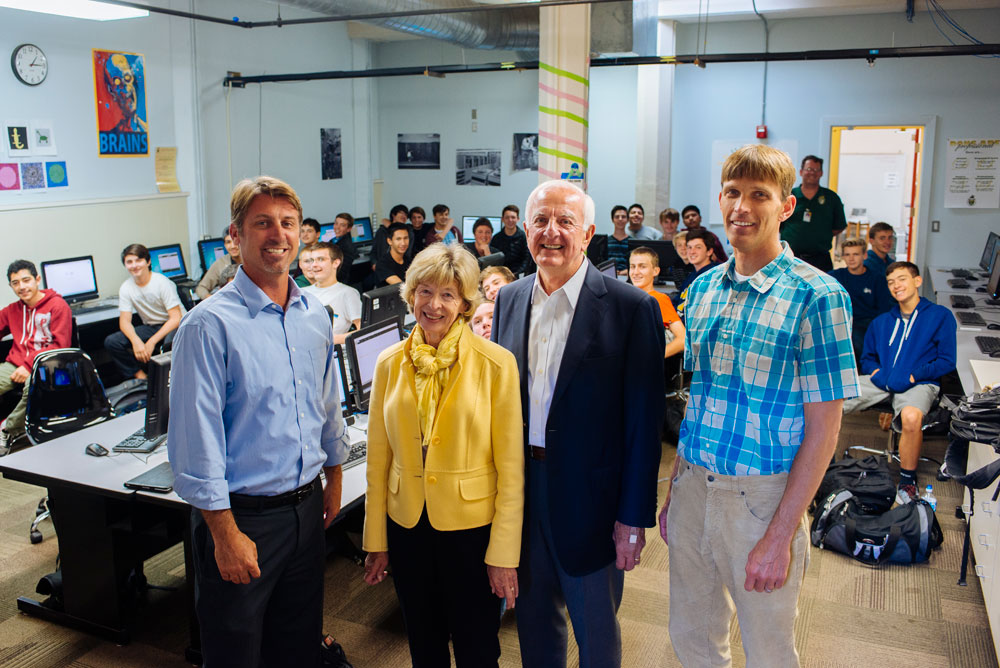 Representatives from the Mosher Foundation visit with the students from Richard Johnston's popular Introduction to Computer Science class at SBHS. Pictured left to right; SBHS Principal John Becchio, Sue and Ed Birch and CS Academy Director, Paul Muhl.
